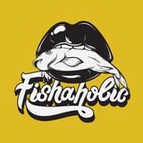 Fishaholic. Vector handwritten lettering. Made in 90`s style. Hand drawn illustration of mouth with fish. Template for card, poster, banner, label,  print for t Royalty Free Stock Image