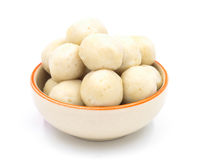 Fishballs in ceramic bowl on  white background. Royalty Free Stock Photography