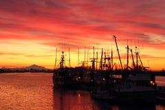 Fishboats at Dock, Steveston Sunrise. Dawn at the marina in Steveston Harbor, British Columbia, Canada where the commercial fishing fleet waits for the fishing Stock Photo