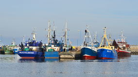 Fishboats in a harbor Royalty Free Stock Photos