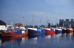 Fishboats in harbour Stock Photography