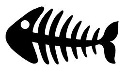 Fishbone 2. Illustration of black fishbone on white background stock illustration