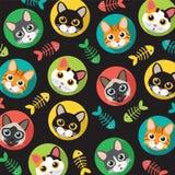 Коты и картина fishbone Стоковое Изображение