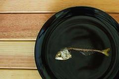 Fishbone dello sgombro sul piatto nero Fotografia Stock Libera da Diritti