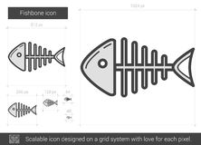 Fishbone line icon. Royalty Free Stock Photos