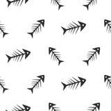 Fishbone monochrome seamless vector pattern. Royalty Free Stock Photography