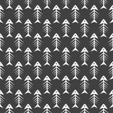 Fishbone monochrome seamless vector pattern. Royalty Free Stock Image