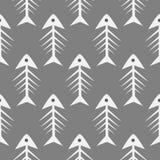 Fishbone monochrome seamless vector pattern. Stock Image