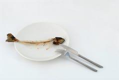 Fishbone op de plaat Royalty-vrije Stock Afbeeldingen