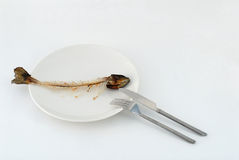 Fishbone on the plate. Fork and knife Royalty Free Stock Images