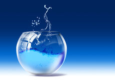 Fishbowl. Drawing of water drop in the fishbowl Stock Image