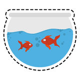 Fishbowl cartoon icon. Over white background. colorful design. vector illustration Royalty Free Stock Image