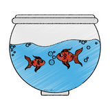 Fishbowl cartoon icon. Over white background. colorful design. vector illustration Royalty Free Stock Images