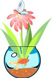 Fishbowl with goldfish. And flower Stock Image