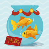 Fishbowl with Goldfishes to Celebrate the Nowruz Event, Vector Illustration Stock Image
