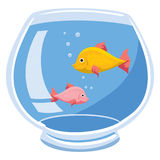 Fishbowl. An Illustration of a fishbowl with two fish and bubbles Royalty Free Stock Image