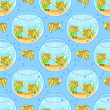 Fishbowl pattern with fish and decorations. aquarium pattern. Fishbowl pattern with fish and decorations. Blue background Royalty Free Stock Photos