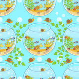 Fishbowl pattern with fish, snail and decorations. Aquarium pattern Stock Images