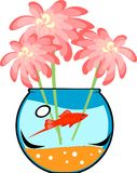 Fishbowl with platies fish. And flower Royalty Free Stock Photos