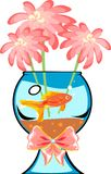 Fishbowl with platies fish. And flower Stock Photo