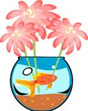 Fishbowl with platies fish. And flower Royalty Free Stock Photography