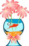 Fishbowl with platies fish. And flower Stock Photography