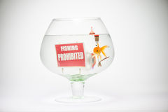 Fishbowl with prohibition sign sin cap and hook. Goldfish in aquarium  on white background Stock Image