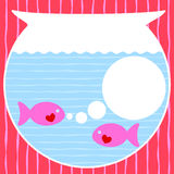 Fishbowl valentines day card. Pink fishes with hearts talking inside an aquarium bowl Royalty Free Stock Photo