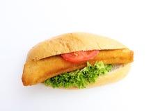 Fishburger. Fresh tasty fishburger isolated on white background royalty free stock photography