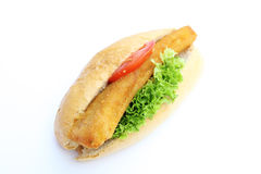 Fishburger. Fresh tasty fishburger isolated on white background stock photos