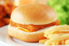 Fishburger. Close up of the fresh fishburger with french fries Royalty Free Stock Photo