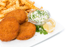 Fishburgers with Chips on white background Stock Photos