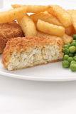 Fishcake Chips and Peas Stock Photo