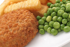 Fishcake Chips and Peas Royalty Free Stock Photo