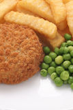 Fishcake Chips and Peas Stock Photos
