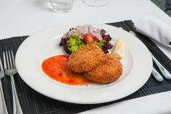 Fishcake with sweet chilli sauce Stock Photography