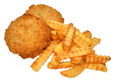 Fishcakes And Crinkle Cut Chips Stock Photo