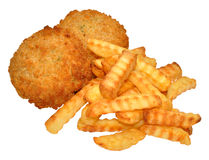 Fishcakes And Crinkle Cut Chips Royalty Free Stock Photos