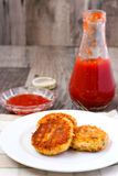 Fishcakes and homemade ketchup Royalty Free Stock Photos