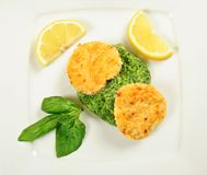 Fishcakes with lemon Stock Photo
