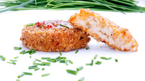 Fishcakes with sweet chilli sauce and chives Royalty Free Stock Image