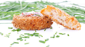 Fishcakes with sweet chilli sauce and chives Royalty Free Stock Photo