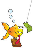 Fished In. A cute yellow fish chasing after a dollar attached to a fish hook Royalty Free Stock Photo