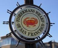 Fisheman的码头标志 免版税库存照片