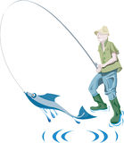 Fisher和鱼 免版税库存照片