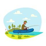 Fisher在小船的人渔有鱼标尺传染媒介的 库存图片