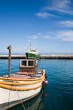 Fisher小船在开普敦附近的kalkbay港口 库存照片