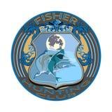 Fisher狩猎俱乐部徽章在平的样式的传染媒介例证 库存例证