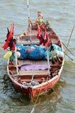 Fisher łódź w morzu Fotografia Royalty Free