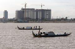 Fisher łodzie na Mekong rzece Obraz Royalty Free